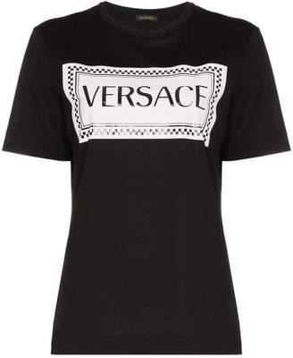 Versace logo and check print cotton t-shirt