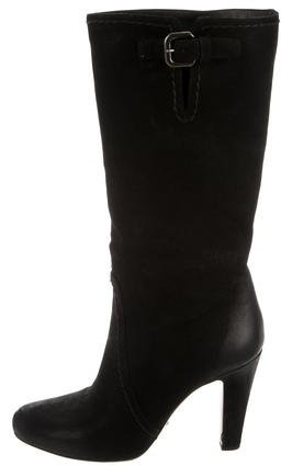 pradaPrada Mid-Calf Suede Boots