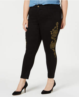 Ysj Plus Size Metallic-Embroidery Ankle Jeans