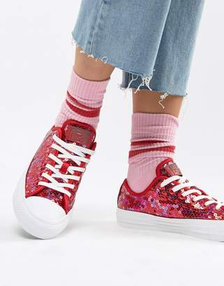 Converse Chuck Taylor All Star ox red sequined sneakers