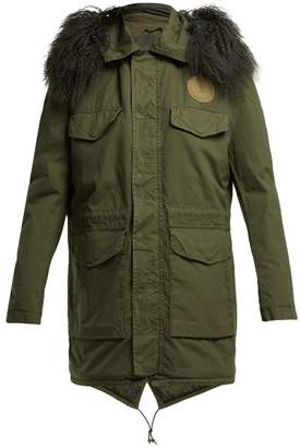Mr & Mrs Italy Shearling Lined Cotton Parka - Womens - Dark Green
