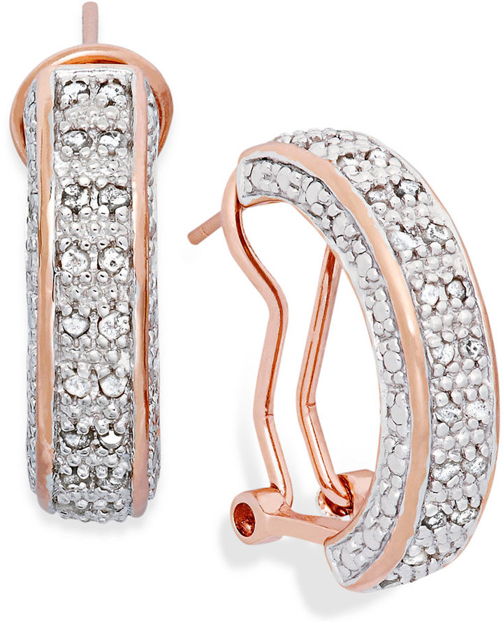 Townsend Victoria Rose-Cut Diamond Hoop Earrings in 18k Rose Gold over Sterling Silver (1/2 ct. t.w.)