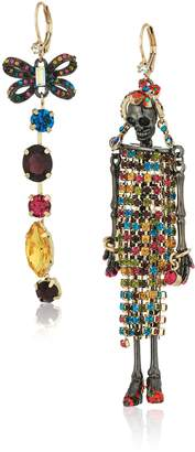 Betsey Johnson Halloween Mismatched Skeleton and -Colored Stone Drop Earrings