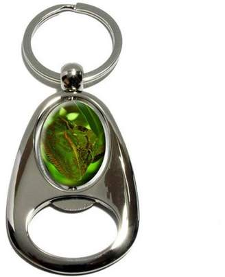 Generic Chameleon Blending in with Green Leaves, Lizard Reptile, Chrome Plated Metal Spinning Oval Design Bottle Opener Keychain Key Ring