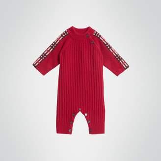 Burberry Childrens Check Detail Cashmere Jumpsuit