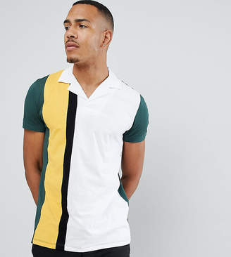 Asos DESIGN Tall polo shirt with vertical color block in green
