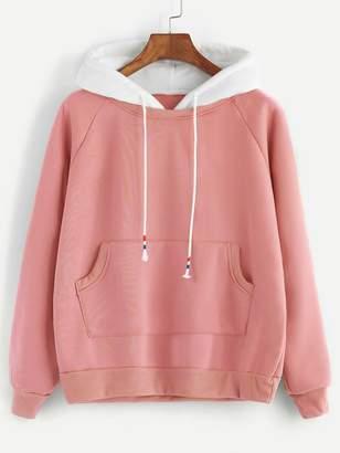 SheinShein Pale Green Raglan Sleeve Pocket Sweatshirt With Contrast Hood