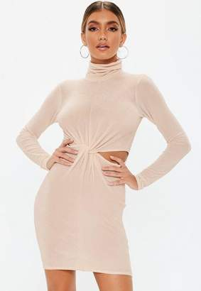 Missguided Nude Cut Out Knot Waist High Neck Mini Dress