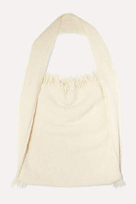 LAUREN MANOOGIAN Bindle Fringed Alpaca And Wool-blend Shoulder Bag - White