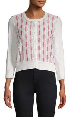 Embroidered Button-Down Cardigan