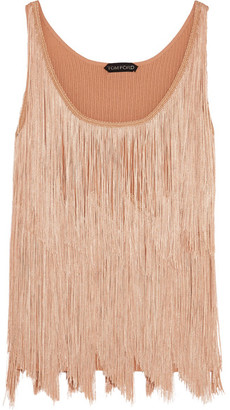 TOM FORD - Fringed Stretch-knit Camisole - Peach $1,950 thestylecure.com