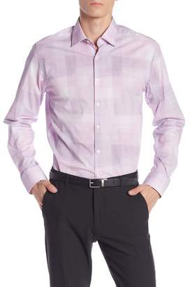 Stone Rose Crinkle Plaid Long Sleeve Slim Fit Shirt
