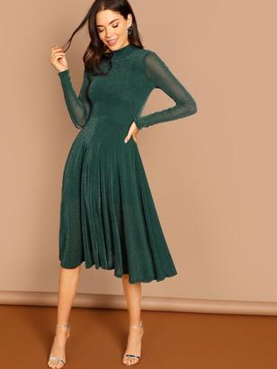 bc3d9d731e6 Shein Sheer Sleeve Glitter Flare Prom Dress