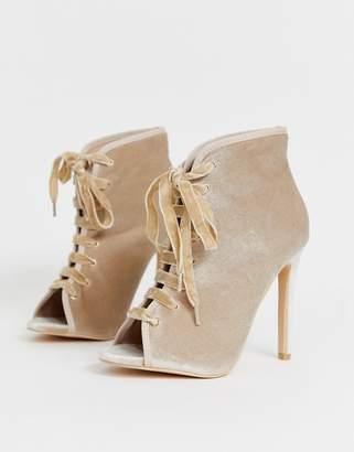 Glamorous metallic lace up heels