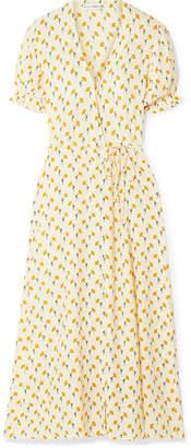 Faithfull The Brand Hana Floral-print Crepe Wrap Dress - Yellow