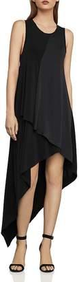 BCBGMAXAZRIA Asymmetric Jersey & Crêpe Dress