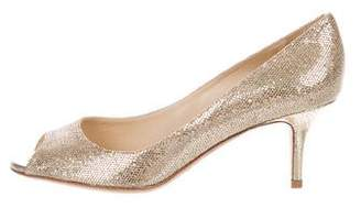 Jimmy Choo Glitter Peep-Toe Pumps