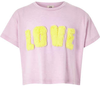 River Island Girls light purple 'love' faux fur T-shirt