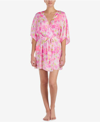 Betsey Johnson Floral-Print Lace-Detail Short Robe