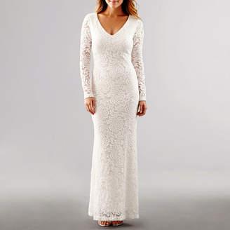 BLUE SAGE Blu Sage Long-Sleeve Lace Wedding Gown