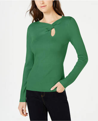INC International Concepts I.n.c. Twist-Front Long-Sleeve Sweater