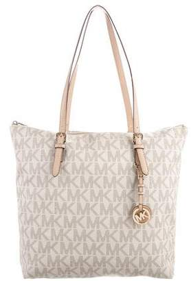 7f4c14bb39c1 ... greece pre owned at therealreal michael michael kors leather trimmed  monogram tote 12da0 229b7