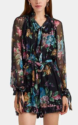 Zimmermann Women's Floral Silk Chiffon Tieneck Romper