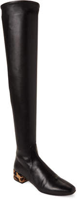 Francesco Russo Black & Leopard Leather Over-the-Knee Boots