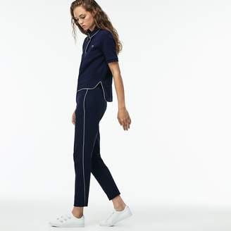 Lacoste Women's Piped Cotton Crepe Interlock Carrot Pants