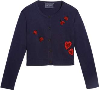 Oscar de la Renta Embroidered Cardigan W/Hearts And Ladybugs