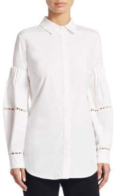 Lela Rose Pearl Button-Front Shirt