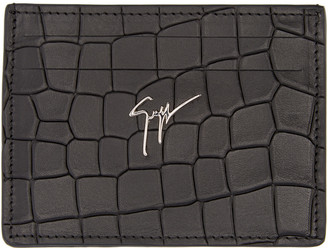 Giuseppe Zanotti Black Croc-Embossed Card Holder $225 thestylecure.com