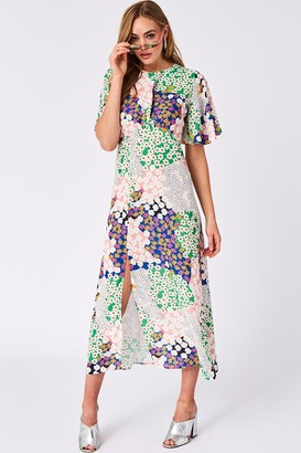Girls On Film Icon Patchwork Floral-Print Midaxi Dress