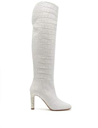 Gabriela Hearst - Linda Crocodile Effect Over The Knee Boots - Womens - White