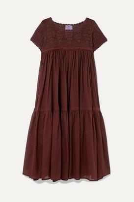 Yvonne S Wind Crochet-paneled Pleated Cotton-voile Dress - Burgundy