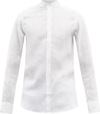 Frescobol Carioca Mandarin Collar Linen Shirt - Mens - White