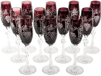 One Kings Lane Vintage Cut Crystal Amethyst Flutes - Set of 12 - La Maison Supreme
