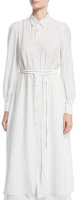 Co Long-Sleeve Button-Front Belted Striped Satin Long Shirtdress