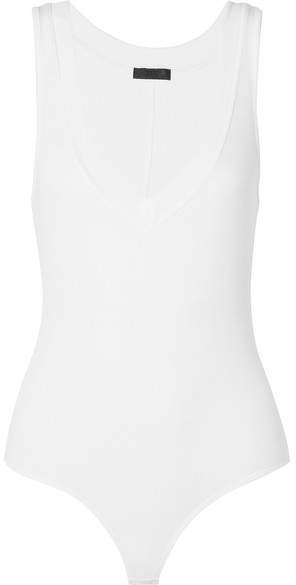 Ribbed Stretch-micro Modal Thong Bodysuit - Cream