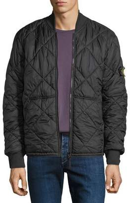 Stone Island Men's Quilted Lightweight Zip-Front Overcoat, Black