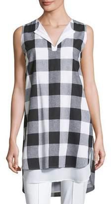 Misook Sleeveless Gingham Layered Shirt