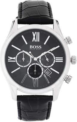 HUGO BOSS 1513194 Silver-Tone & Black Croc-Embossed Ambassador Watch