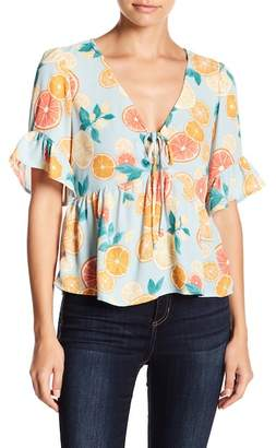 June & Hudson Tie Front Printed Top