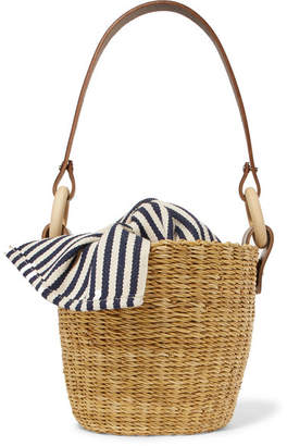 Muun Seau Straw And Striped Cotton-canvas Bucket Bag - Navy