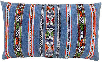 One Kings Lane Vintage Blue Striped Moroccan Pillow - The Moroccan Room