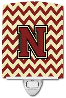 N. Caroline's Treasures Letter Chevron Maroon and Gold Ceramic Night Light