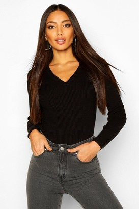 boohoo Ribbed V-Neck Jumper