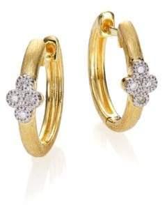 "Jude Frances Diamond & 18K Yellow Gold Small Hoop Earrings/0.65"""