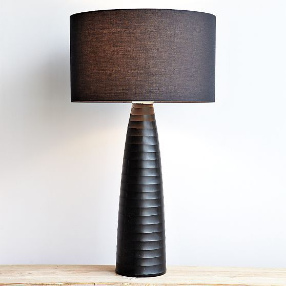 Tall Carved-Glass Table Lamp