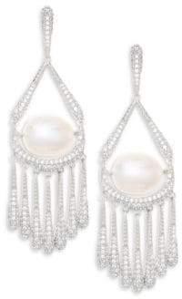 Adriana Orsini 10-11MM Freshwater Pearl Fringe Earrings - Silver